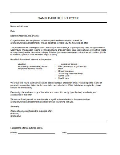 simple job offer acceptance letter