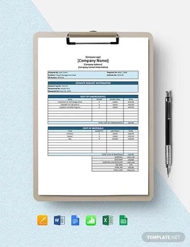software cost estimate template
