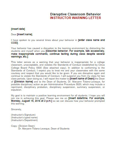 student classroom behavior warning letter