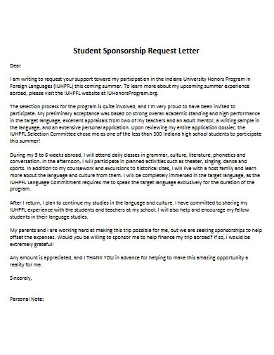 student sponsorship request letter
