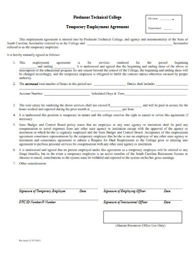 temporary employment agreement
