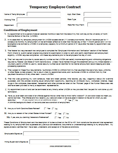 temporary employment contract agreement