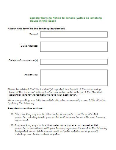 tenant warning notice letter
