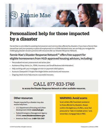 Fannie Mae's Disaster Response Flyer Example