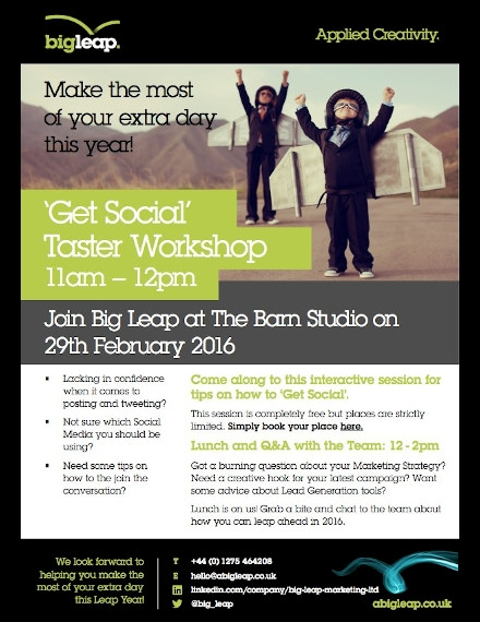 Marketing Workshop Flyer Example of Big Leap