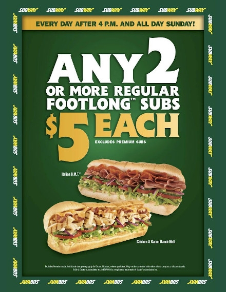 Every Day Sales Flyer Example of Subway
