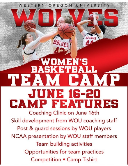 Basketball Team Camp Flyer Example of WOU WOLVES