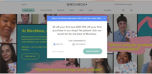 Birchbox Call To Action