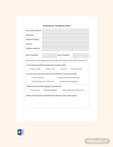 blank hr evaluation feedback form template