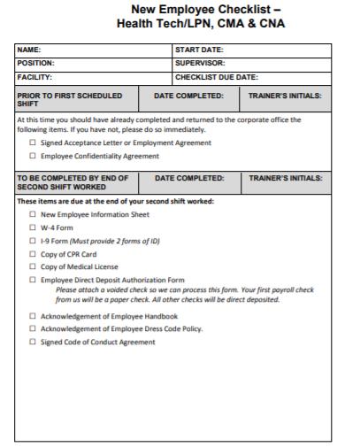 cna shift change checklist