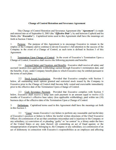 change of control retention and severance agreement