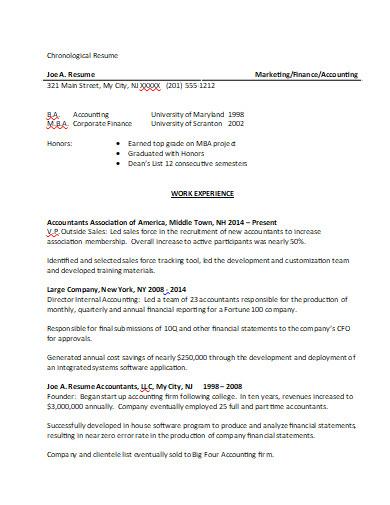 chronological resume in doc