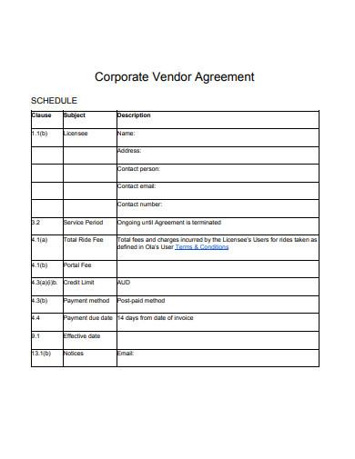 corporate vendor agreement