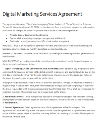 digital marketing services agreement
