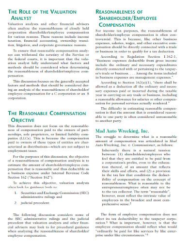 employee reasonable compensation analysis