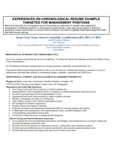 experienced chronological resume example