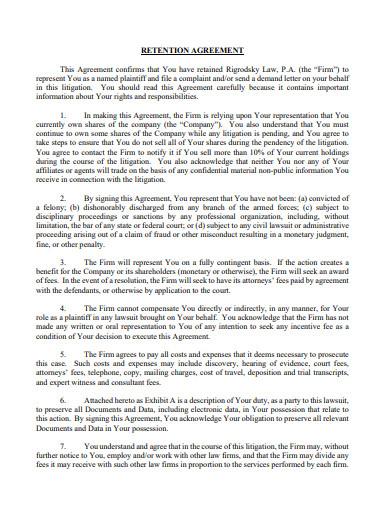 formal retention agreement