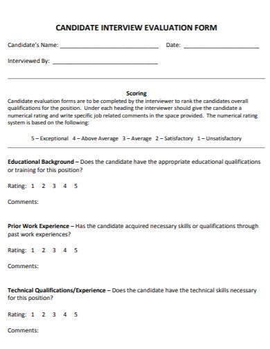 hr candidate evaluation form