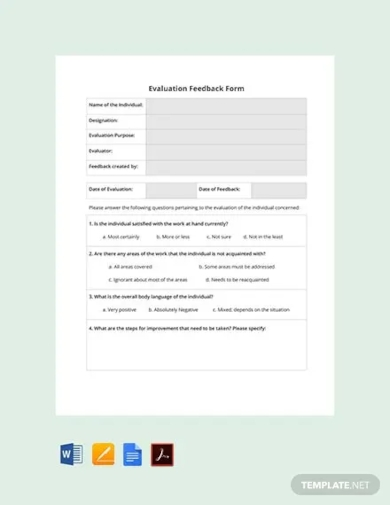 hr evaluation feedback form template