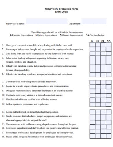 hr manager evaluation form