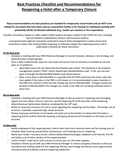 hotel shift change checklist template