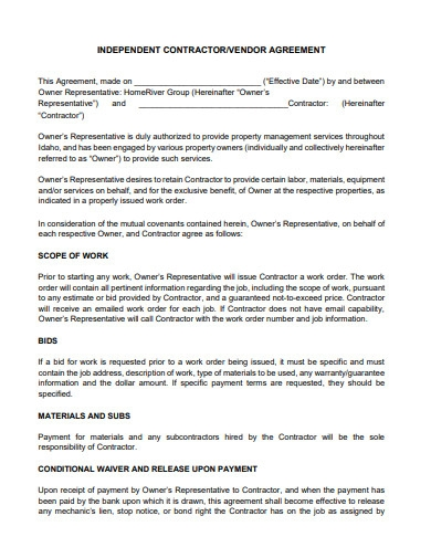 independent vendor agreement