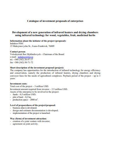investment proposals of enterprises