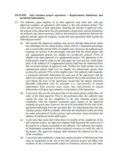 job retention project agreement