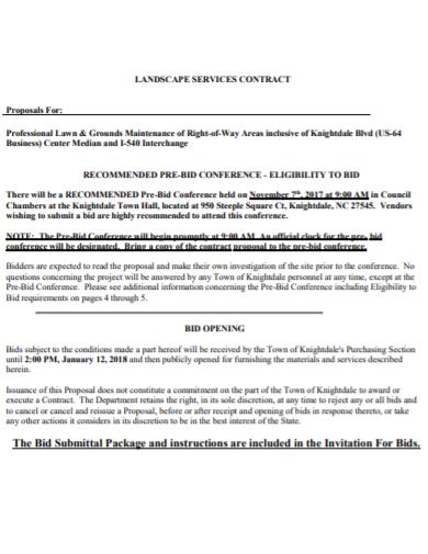 landscape services bid contract