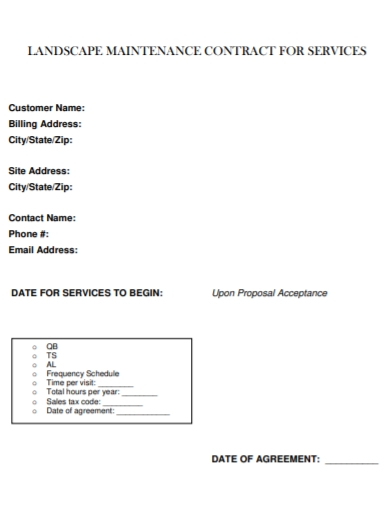 landscaping maintenance services contract
