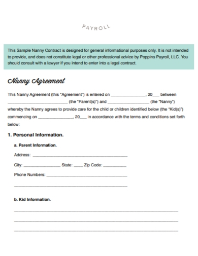 nanny agreement payroll receipt