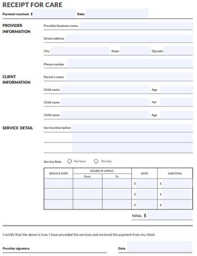 nanny care payment receipt template