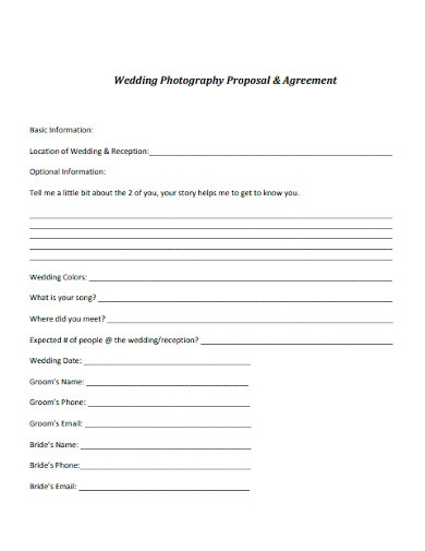 photography business proposal and agreement template
