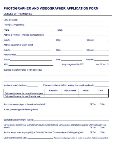 photography business proposal application template