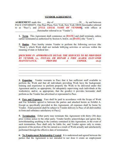 printable vendor agreement