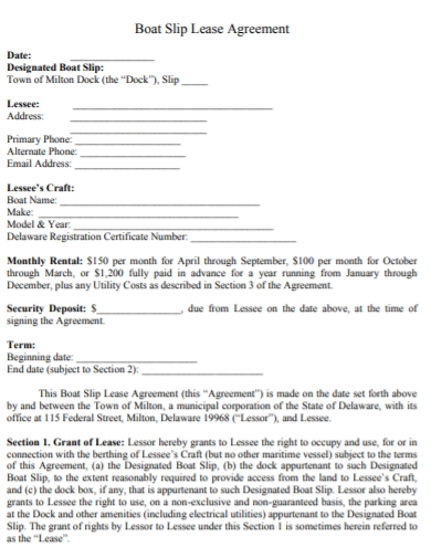 private boat slip lease agreement