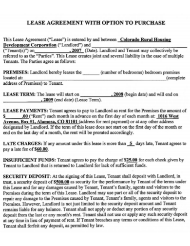 private lease purchase agreement