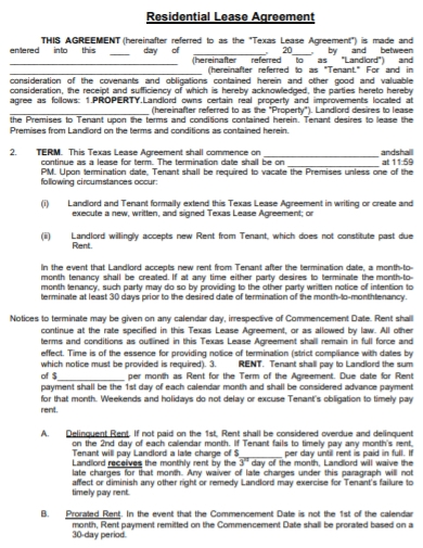private property lease agreement