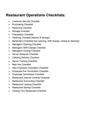 restaurant operation shift checklist