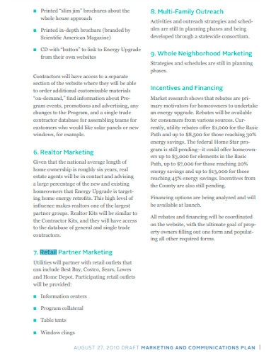 retail marketing and communication plan template