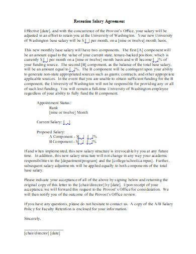 retention salary agreement in doc