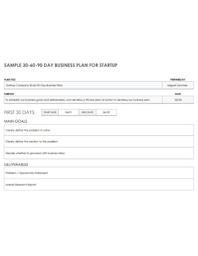 sample 30 60 90 day business plan for startup
