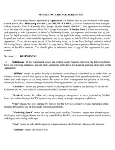 social media marketing partner agreement