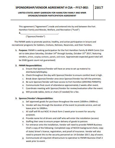 sponsorship vendor agreement