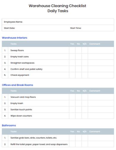 warehouse shift checklist template