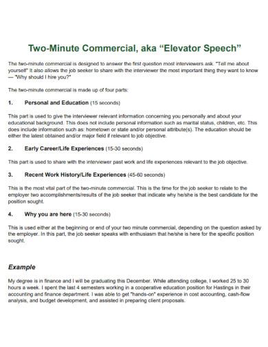 2 minute self introduction speech template
