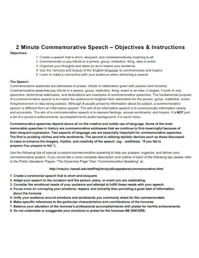 2 minutes commemorative speech outline