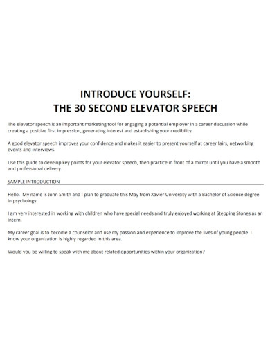 30 second self introduction speech for school students