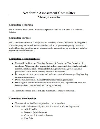 academic assessment committee