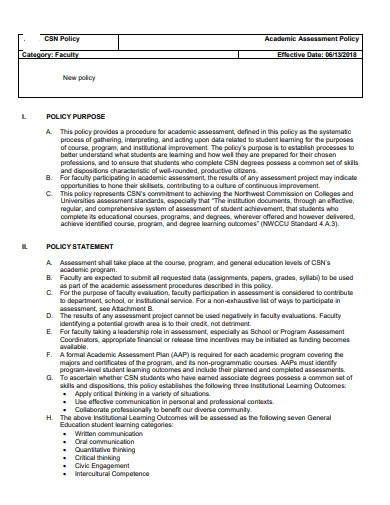 academic assessment policy